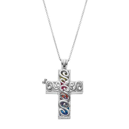 Sentimental Expressions Sterling Silver Cubic Zirconia Promises of The Rainbow Cross Necklace