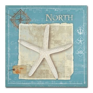 Trademark Fine Art Points North Starfish Canvas Wall Art