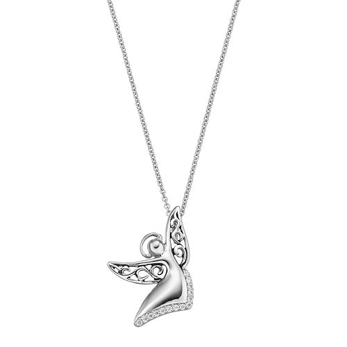 Sentimental Expressions Sterling Silver Cubic Zirconia Angel of Joy Necklace