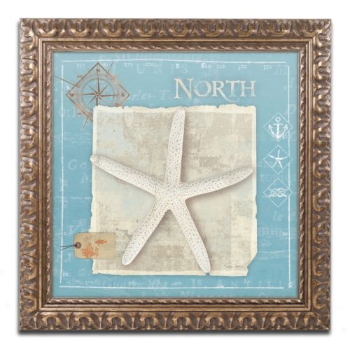 Trademark Fine Art Points North Starfish Ornate Framed Wall Art