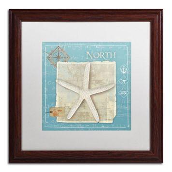 Trademark Fine Art Points North Starfish Light Finish Framed Wall Art