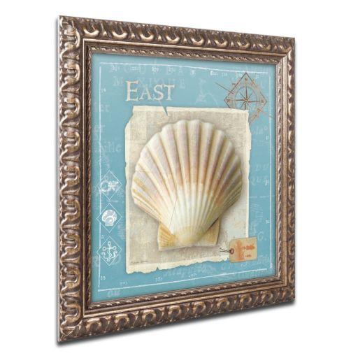 Trademark Fine Art Points East Seashell Ornate Framed Wall Art