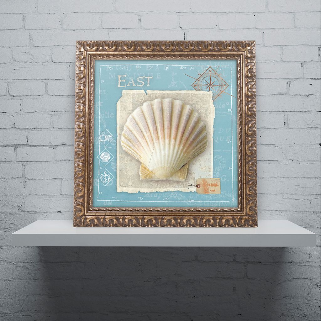 Trademark Fine Art Points East Seashell Ornate Framed Wall Art