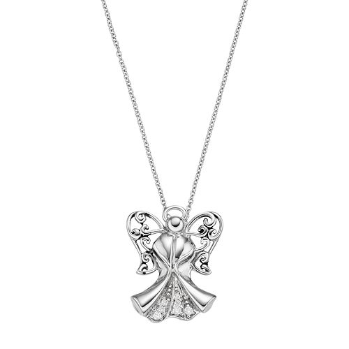 Sterling Silver CZ Antiqued Angel of Blessing 18in Necklace and Pendant