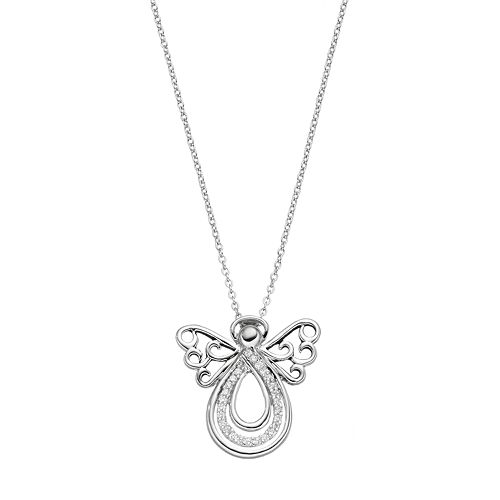 Sentimental Expressions Sterling Silver Cubic Zirconia Angel of Comfort Necklace