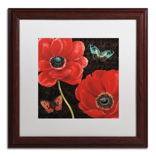 "Trademark Fine Art ""Petals and Wings II"" Wood Finish Framed Wall Art"