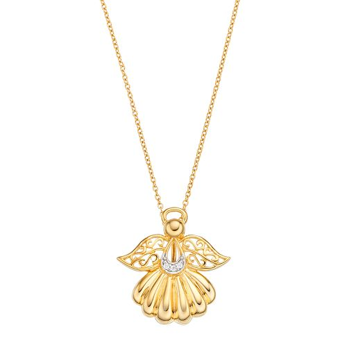 Sentimental Expressions 14k Gold Over Silver Cubic Zirconia Angel of Rememberance Necklace
