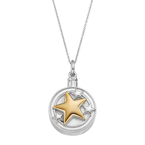 Sentimental Expressions Two Tone Sterling Silver Star Rememberance Ash Holder Necklace