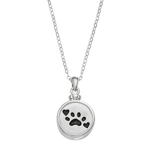 Sentimental Expressions Sterling Silver Paw Print Rememberance Ash Holder Necklace