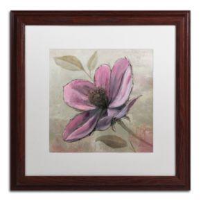 "Trademark Fine Art ""Plum Floral III"" Wood Finish Framed Wall Art"