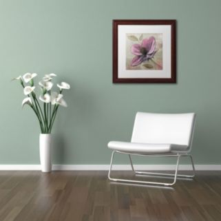 "Trademark Fine Art ""Plum Floral III"" Wood Finish Framed Wall Art"