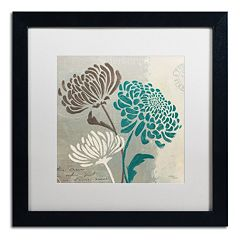 Trademark Fine Art Wellington Studio 'Chrysanthemums II' Black Framed Wall Art