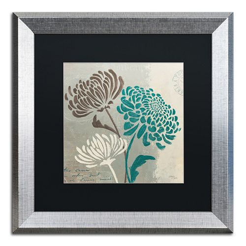 "Trademark Fine Art Wellington Studio ""Chrysanthemums II"" Silver Finish Framed Wall Art"
