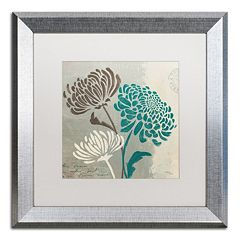 Trademark Fine Art Wellington Studio 'Chrysanthemums II' Silver Finish Framed Wall Art