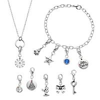 Brilliance Silver Plated 12 Days Of Joy Christmas Charm, Bracelet & Necklace Set - Made with Swarovski Crystals
