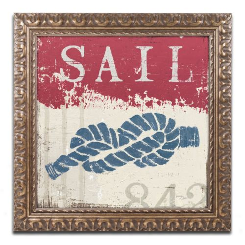 Trademark Fine Art Wellington Studio Nautical III Red Ornate Framed Wall Art