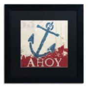 "Trademark Fine Art Wellington Studio ""Nautical IV Red"" Black Framed Wall Art"