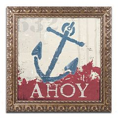 Trademark Fine Art Wellington Studio 'Nautical IV Red' Ornate Framed Wall Art