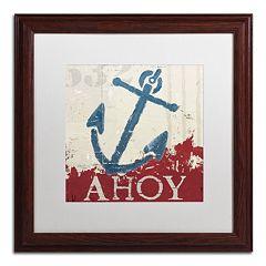 Trademark Fine Art Wellington Studio 'Nautical IV Red' Wood Finish Framed Wall Art