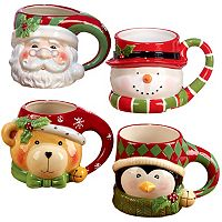 Certified International 4-pc. 3D Christmas Mug Set