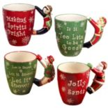 Certified International 4-pc. 3D Christmas Handle Mug Set