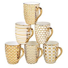 Certified International 6 pc Plated Tapered Mug Set