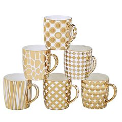 Certified International 6 pc Plated Barrel Mug Set