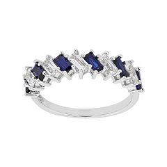 Simply Vera Vera Wang Sterling Silver Lab-Created White & Blue Sapphire Ring