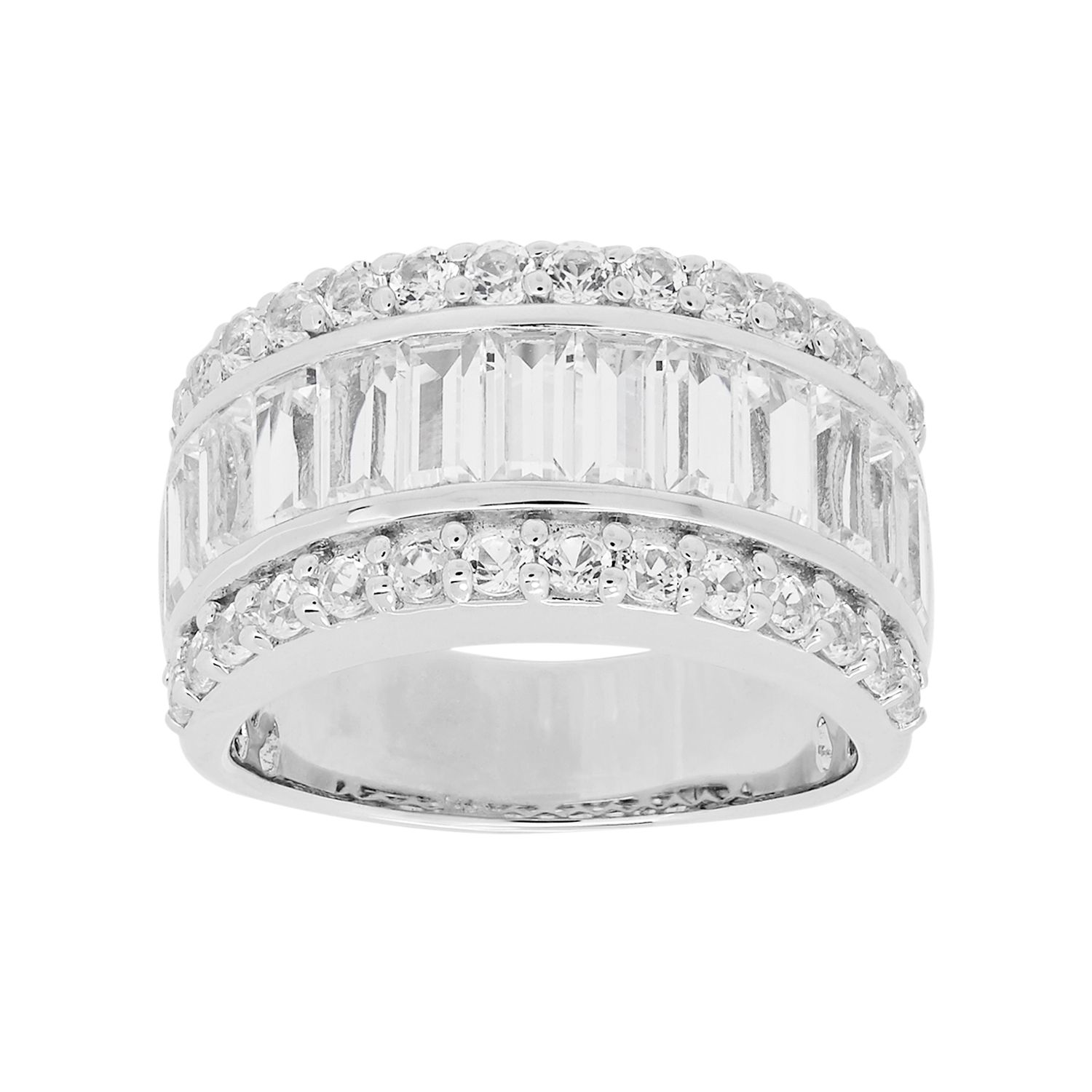 Vera Vera Wang Sterling Silver LabCreated White Sapphire Ring