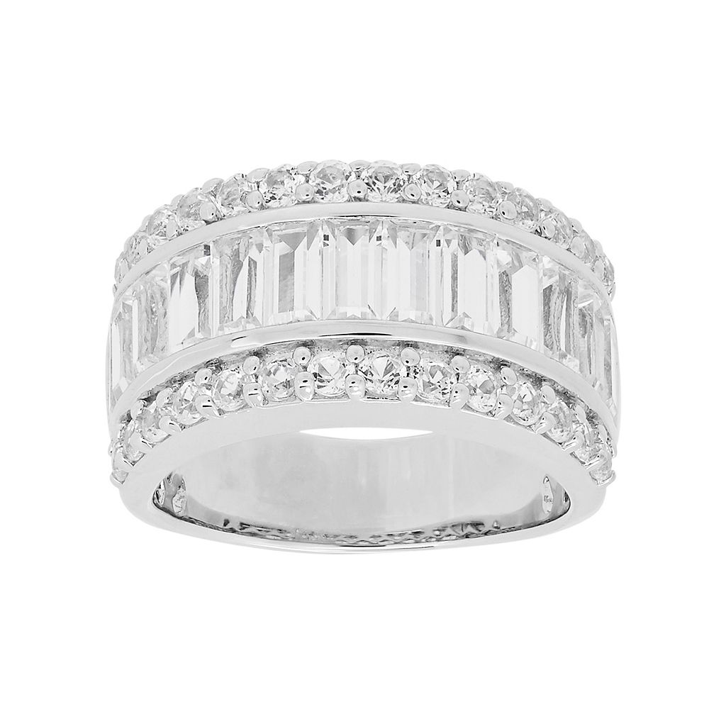 Simply Vera Vera Wang Sterling Silver Lab-Created White Sapphire Ring