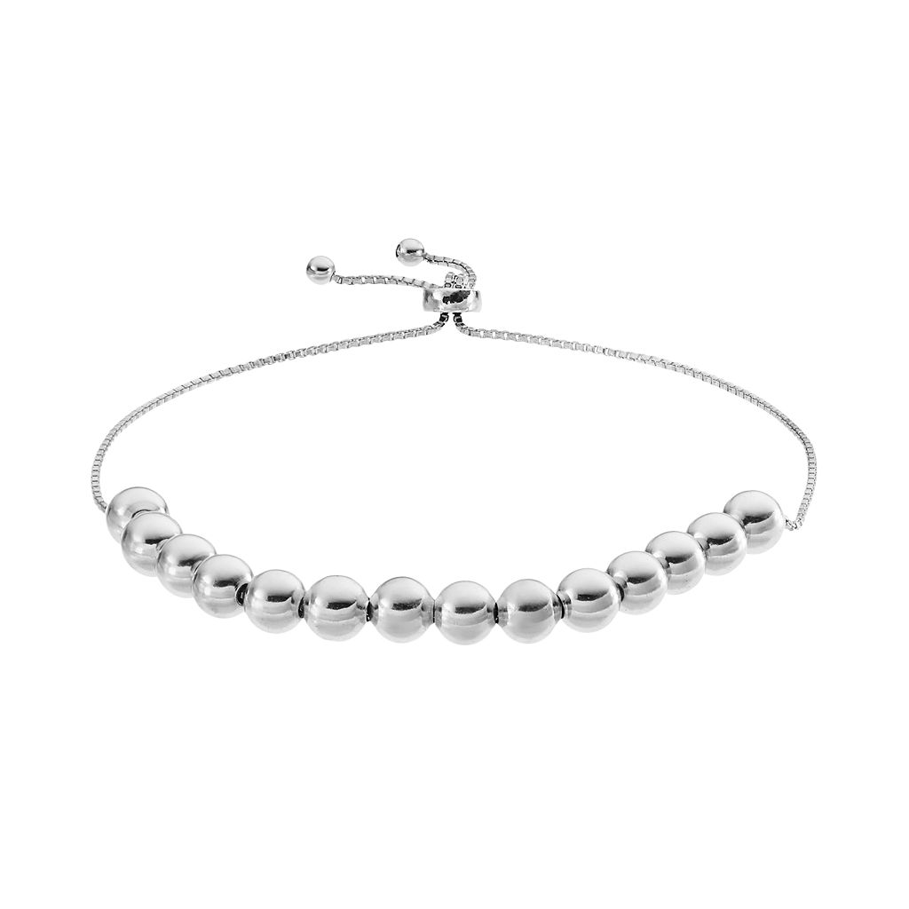 Sterling Silver Beaded Lariat Bracelet