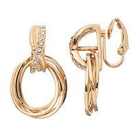 Napier Clip On Crisscross Oval Door Knocker Earrings