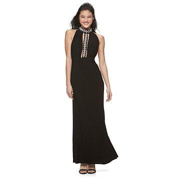 Juniors' Trixxi Embellished Halter Maxi Dress