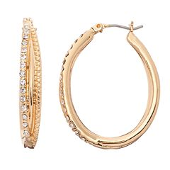 Napier Crisscross Oval Hoop Earrings