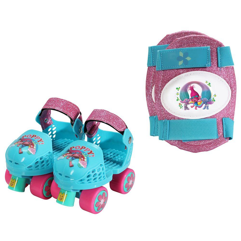 DreamWorks Trolls Poppy Youth Glitter Roller Skates & Knee Pads Set by PlayWheels