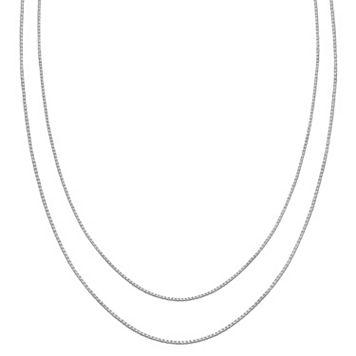 PRIMROSE Sterling Silver Box Chain Necklace Set