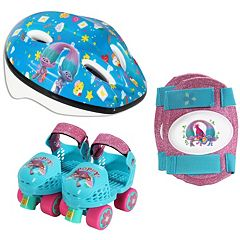 DreamWorks Trolls Poppy Youth Glitter Roller Skates, Knee Pads & Helmet Set by PlayWheels