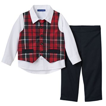 Baby Boy Matt's Scooter Plaid Vest, Shirt, Pants & Tie Set