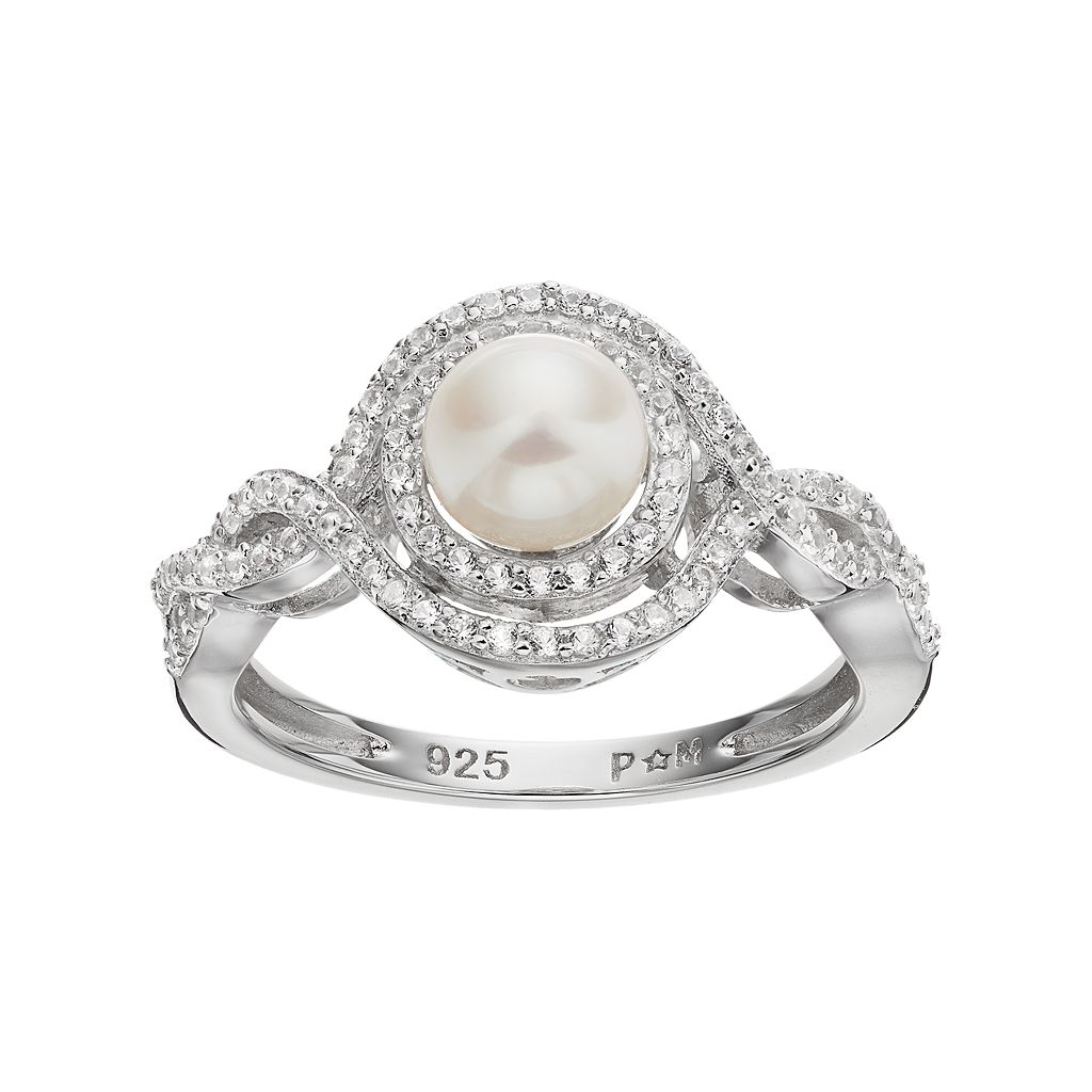 Sterling Silver Freshwater Cultured Pearl & Lab-Created White Sapphire Swirl Ring