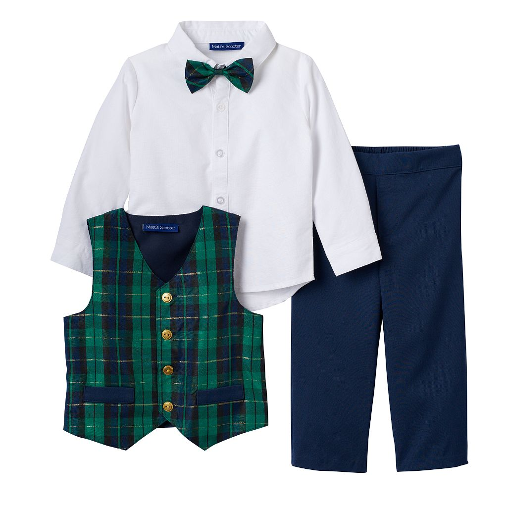 Baby Boy Matt's Scooter Plaid Vest, Solid Shirt, Pants & Bowtie Set