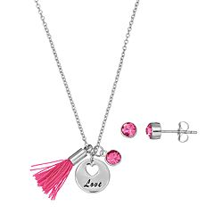 Silver Plated 'Love' Tassel Charm Pendant & Crystal Stud Earring Set
