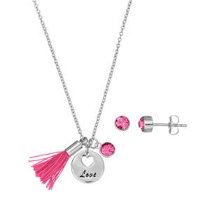 "Silver Plated ""Love"" Tassel Charm Pendant & Crystal Stud Earring Set"