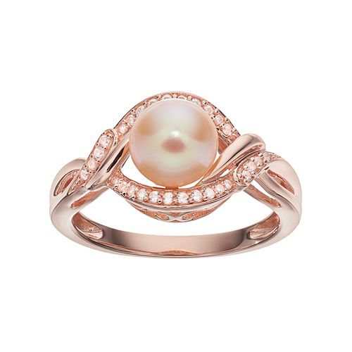 14k Rose Gold Over Silver Dyed Freshwater Cultured Pearl & Lab-Created White Sapphire Swirl Ring