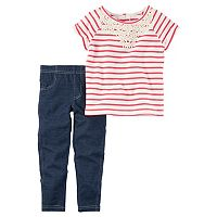 Toddler Girl Carter's French Terry Lace Yoke Striped Tee & Jeggings Set