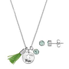 Silver Plated 'Hope' Tassel Charm Pendant & Crystal Stud Earring Set