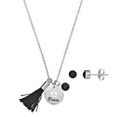 Silver Plated 'Peace' Tassel Charm Pendant & Crystal Stud Earring Set
