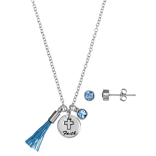 "Silver Plated ""Faith"" Tassel Charm Pendant & Crystal Stud Earring Set"