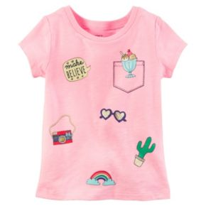 Toddler Girl Carter's Short Sleeve Sparkly Patch Graphic Tee
