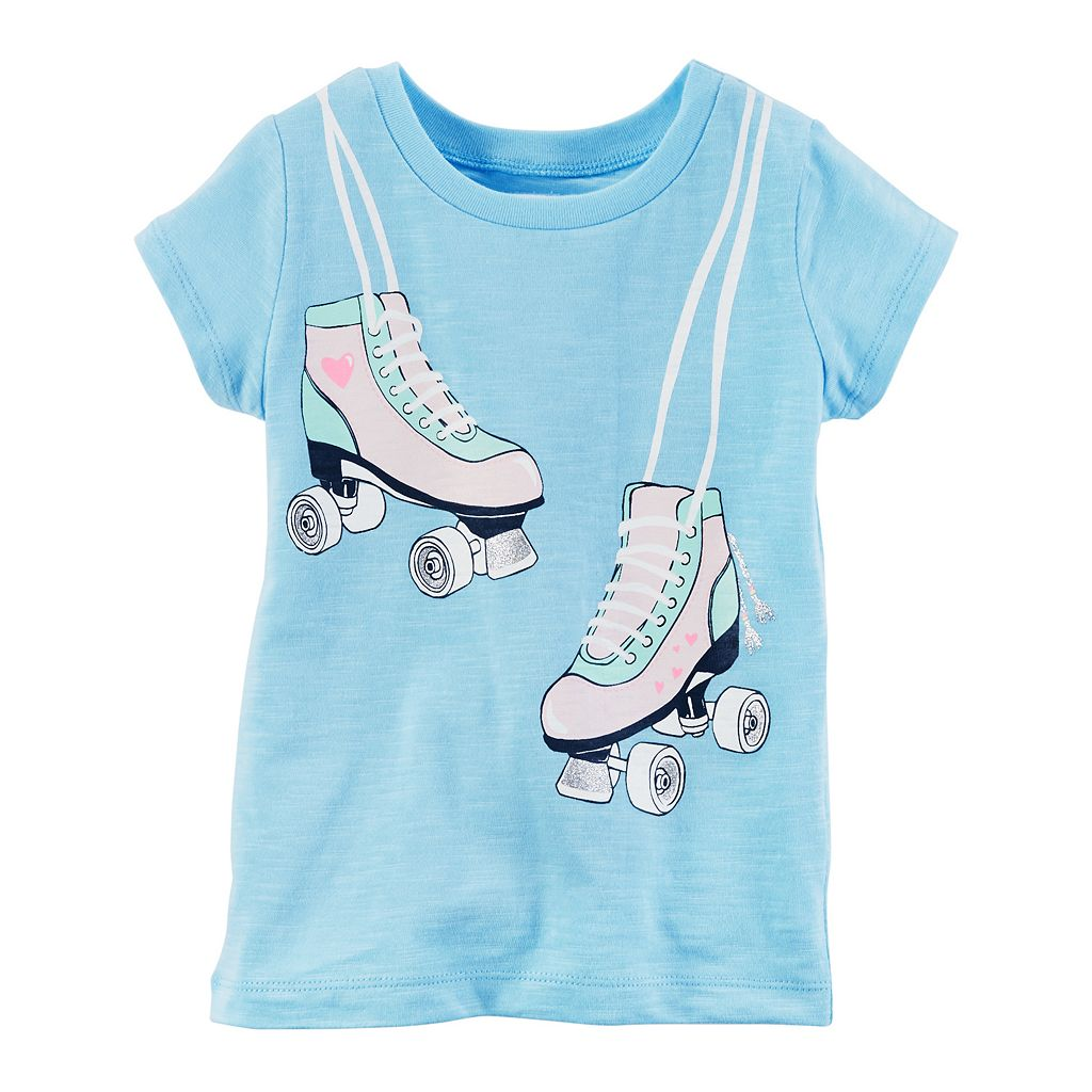 Toddler Girl Carter's Roller Skates Glitter Graphic Slubbed Tee