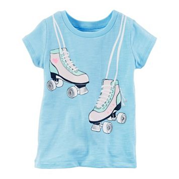 Toddler Girl Carter's Roller Skates Glitter Graphic Slubbed Tee